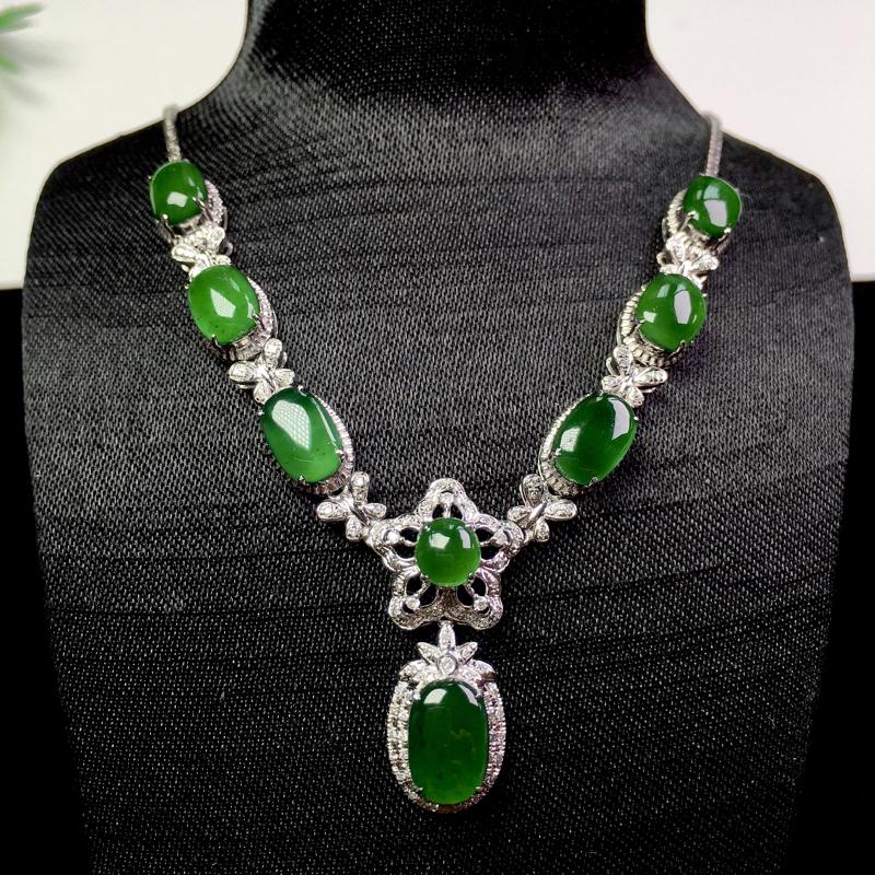 (下单有礼)满绿项链,冰润色艳,种老清爽!裸石:9.2*6*2.3