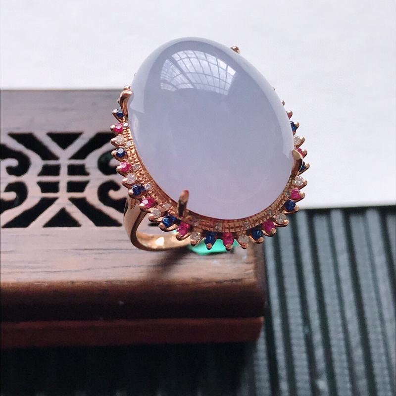 天然翡翠A货18K金镶嵌伴钻细糯种紫罗兰精美蛋面戒指,内径尺寸18.6mm, 裸石尺寸18.8-14