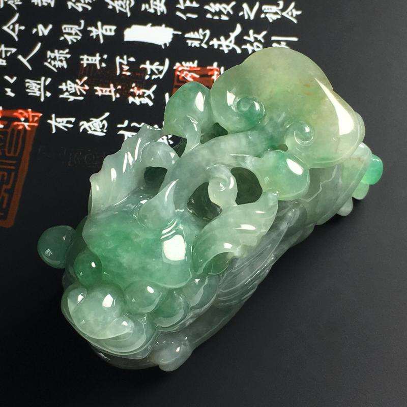 糯种黄加绿貔貅手玩件 尺寸66-34-30毫米 玉质水润 色彩亮丽 雕工精致