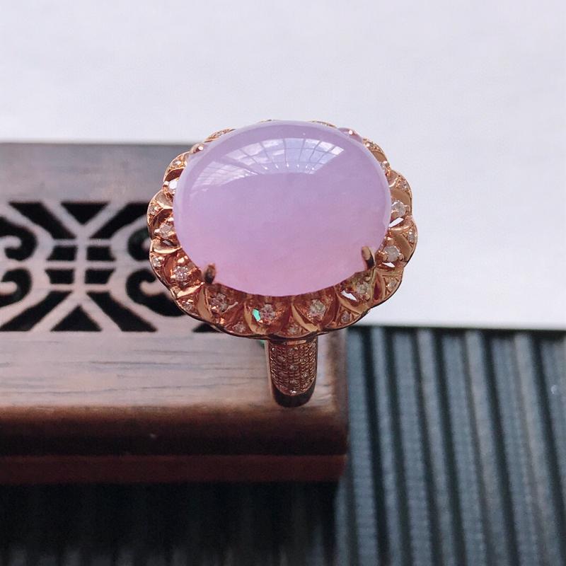 天然翡翠A货18K金镶嵌伴钻糯化种紫罗兰精美蛋面戒指,内径尺寸18.3mm, 裸石尺寸14.5-12