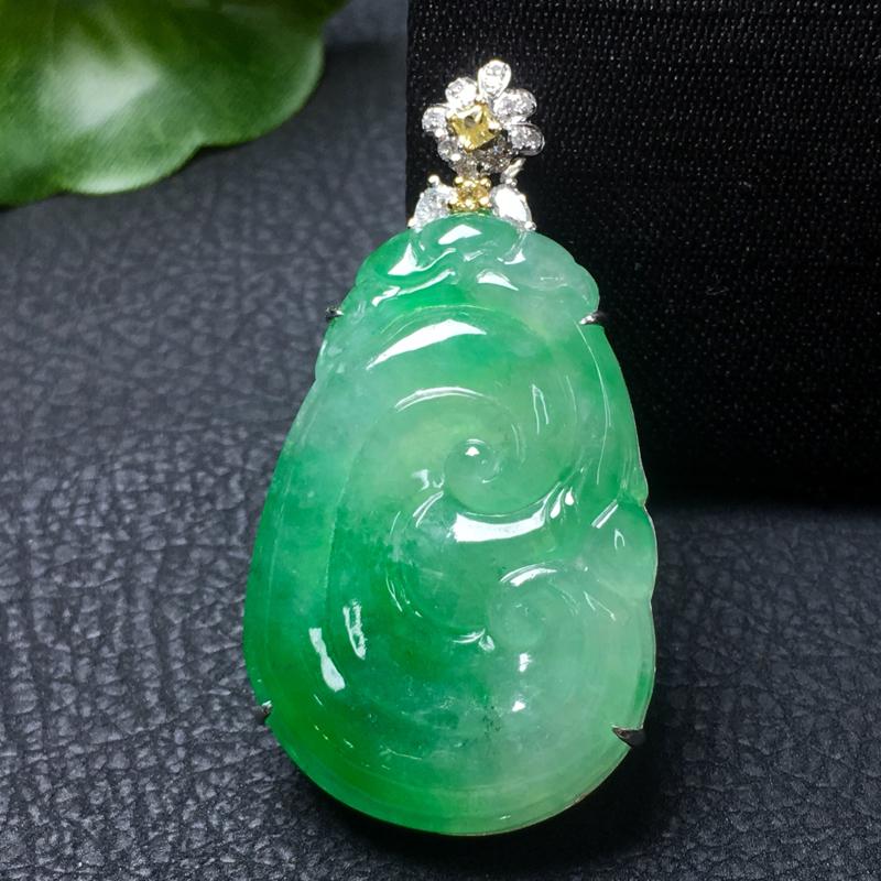 翡翠a货,飘绿如意吊坠,18k金镶嵌,种水好,佩戴精美