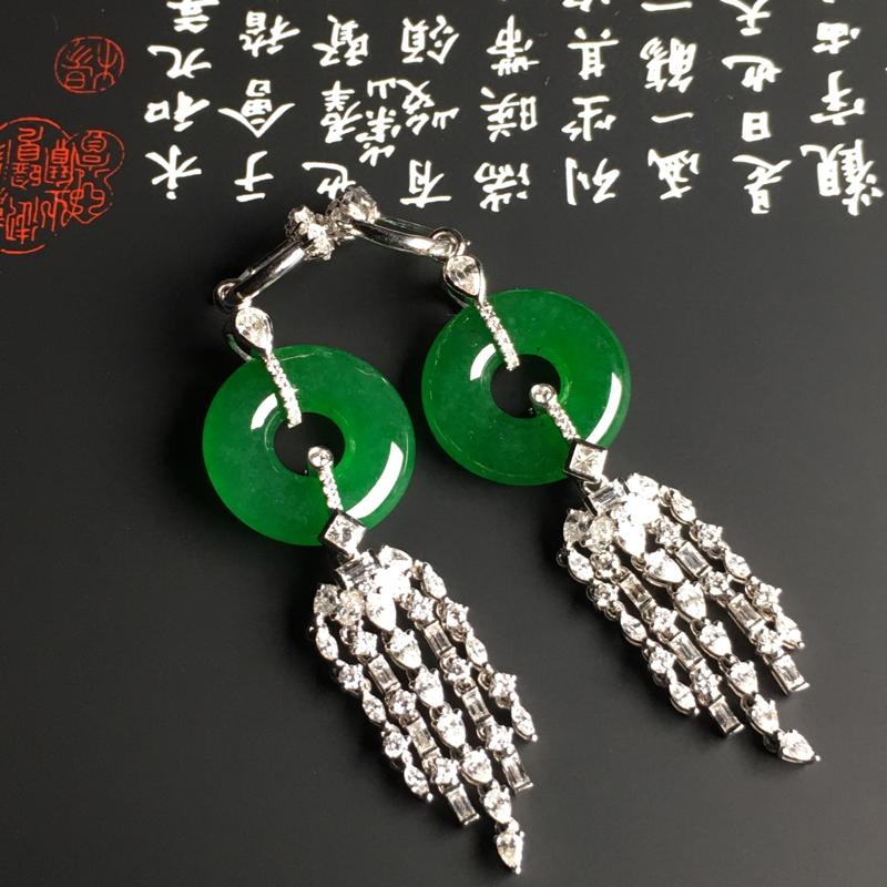 老坑冰种满色阳绿平安扣耳坠 18K金镶嵌钻石 整体长度69.8毫米 水润通透 质地细腻 翠色阳绿 款