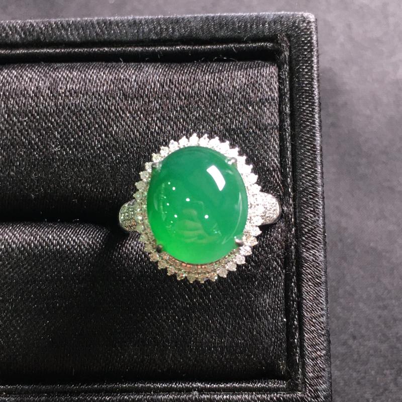 满绿蛋面戒指,18k金伴钻镶嵌,完美,种好