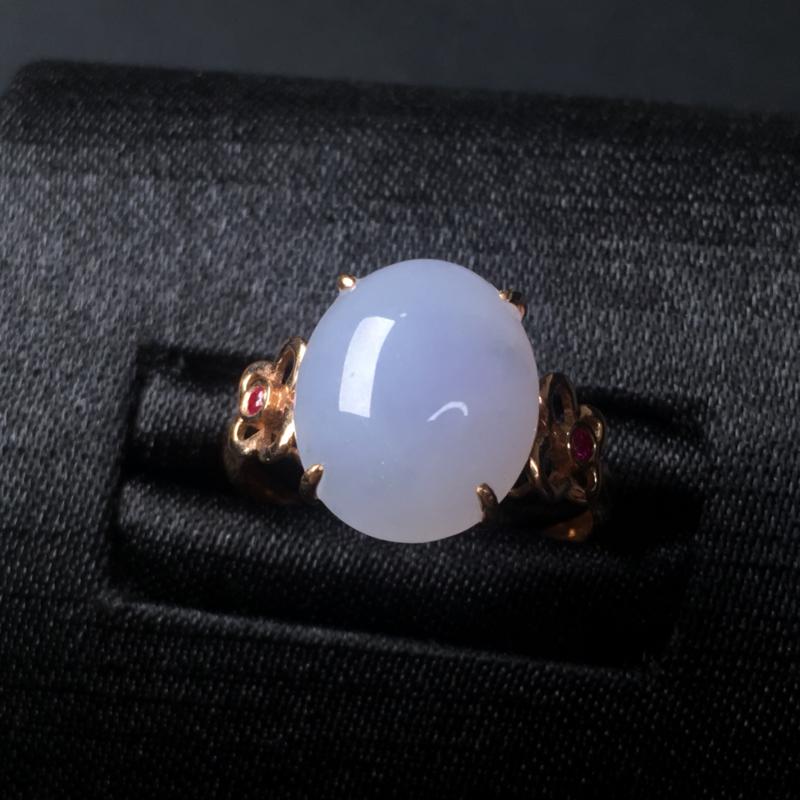 翡翠a货紫罗兰蛋面戒指,18k金镶嵌,水润饱满,带飘花,佩戴精美