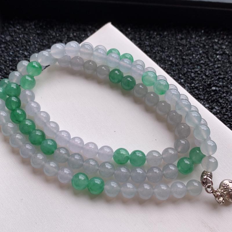 🙏缅甸天然翡翠A货   108颗水润饱满双彩圆珠项链,克重:70.80,尺寸:7.5,有缘相遇不错过