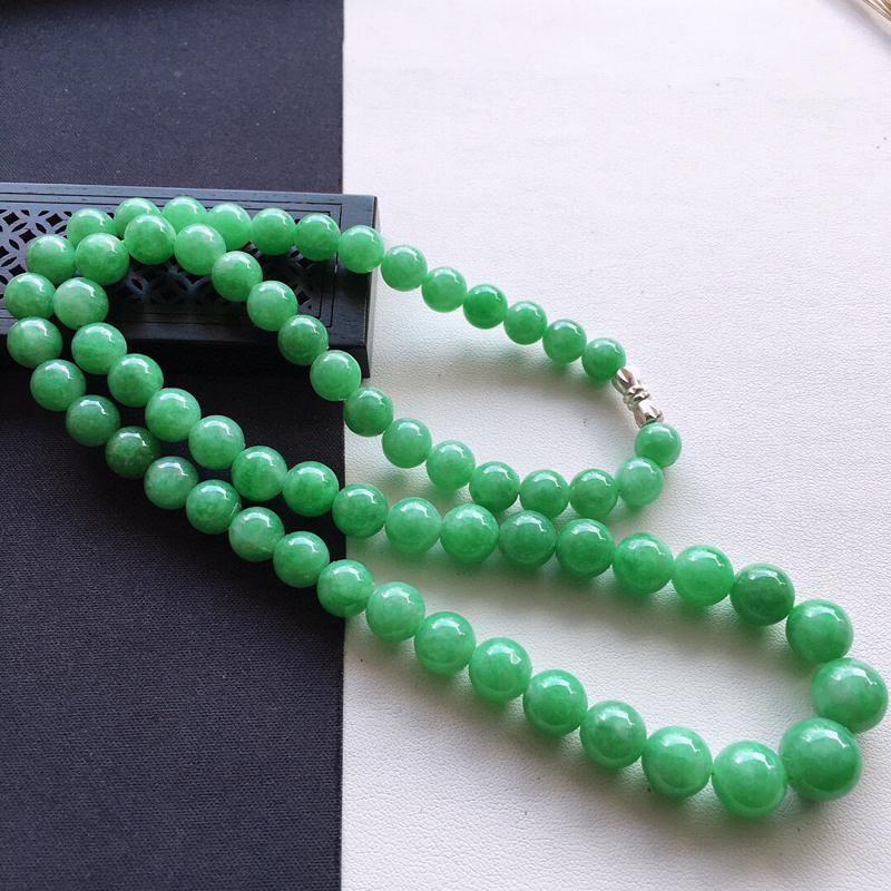 精品翡翠项链,玉质莹润,尺寸:链长:520MM,玉:10.6MM,总质量:64.9g
