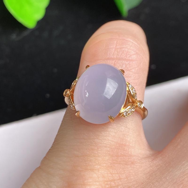 A货翡翠-种好紫罗兰18K金伴钻蛋面戒指,尺寸-12.5*10.6*5.9mm内径16.5mm13号