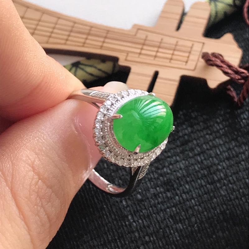 翡翠A货飘绿18k金伴钻福气戒指 尺寸10.2*8*4mm 包金尺寸14*12.1*9.5mm 内径