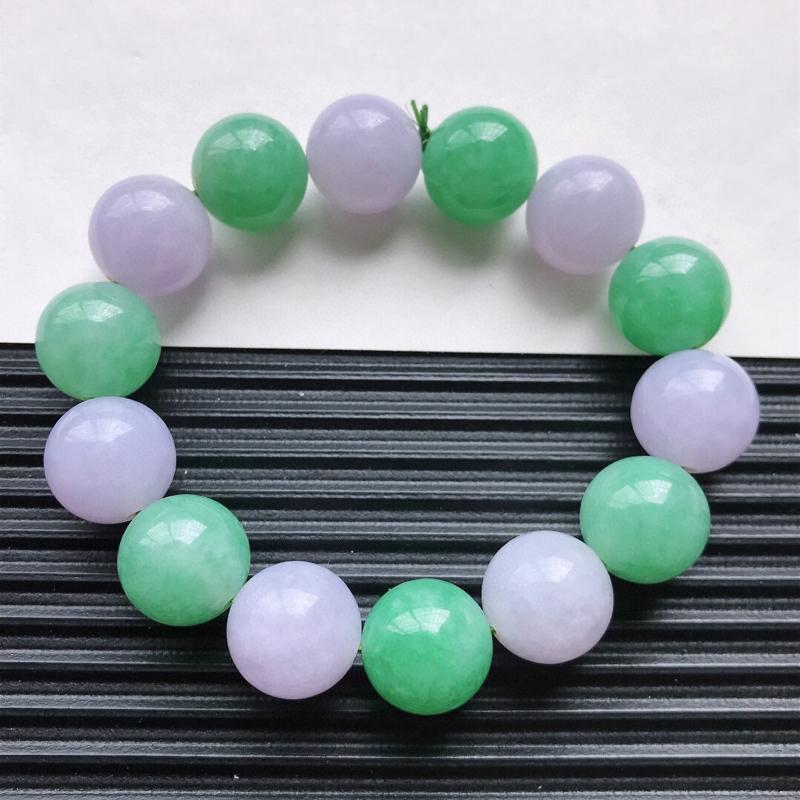 天然翡翠A货细糯种双彩精美圆珠手链,尺寸14.2mm,玉质细腻,种水好 上身效果漂亮