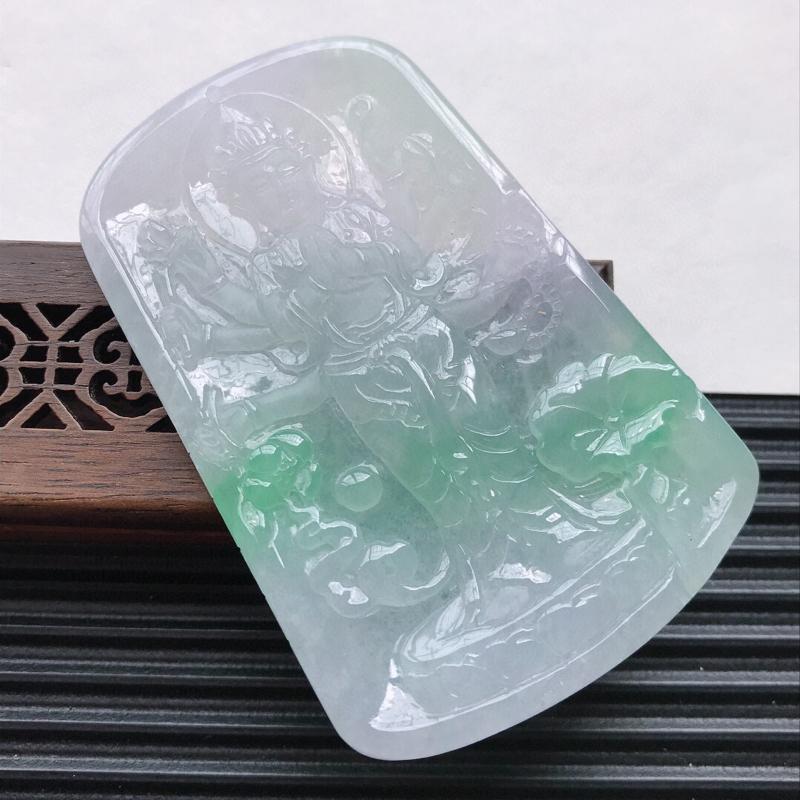 天然翡翠A货细糯种飘绿精美观音吊坠,尺寸71.8-46.7-5mm,玉质细腻,种水好 上身效果漂亮