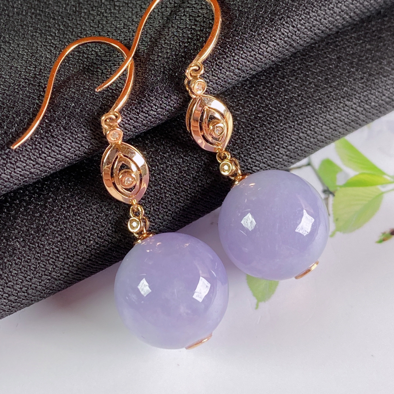 A货翡翠-种好紫罗兰18K金伴钻圆珠耳坠,尺寸-裸石13.1mm整体38.4*13.1mm