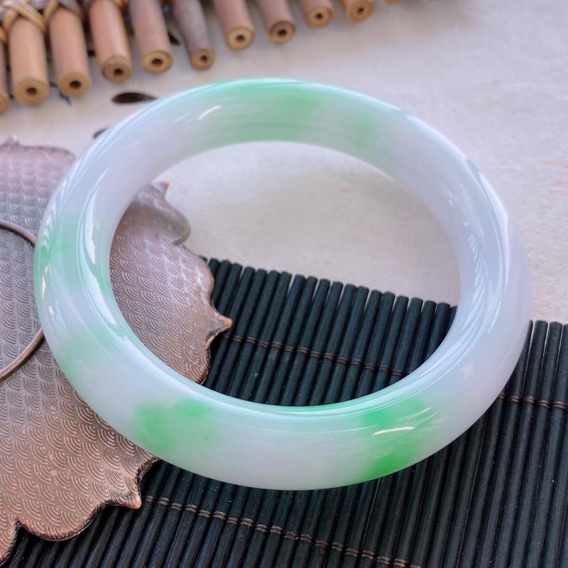 圆条:57.0.mm 天然a货飘绿糯化种圆条翡翠手镯,圈口:57.0/11.7/11.5mm