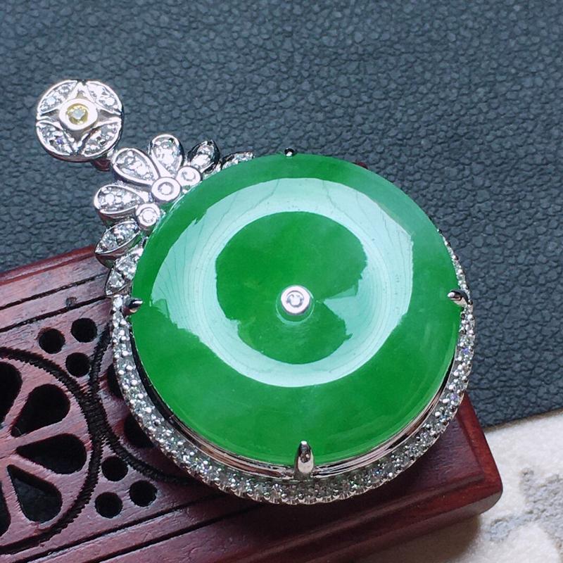 缅甸翡翠18K金伴钻镶嵌带绿平安扣吊坠,玉质细腻,雕工精美,佩戴送礼佳品,包金尺寸: 32.5*22