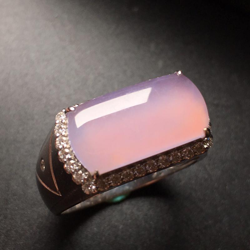 冰粉紫罗兰马鞍戒指,18K金镶嵌,质地清爽,完美无裂,质量杠杠!整体:10.5*19*8.7