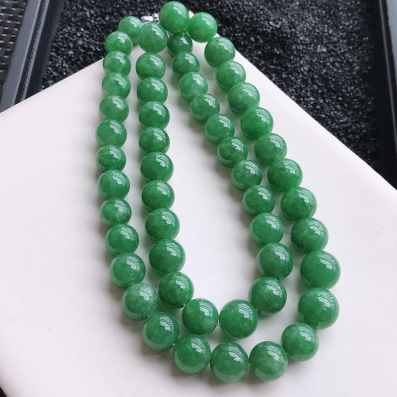 🙏缅甸天然翡翠A货   水润饱满满绿圆珠项链,克重111.50,尺寸:11.2*9.7,寓意峰回路转