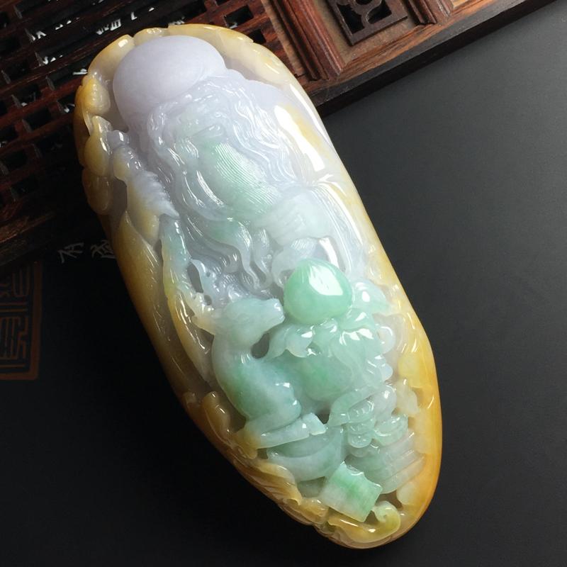 黄加绿福寿星摆件 尺寸105-45-24毫米 玉质水润 色彩艳丽 雕工精湛