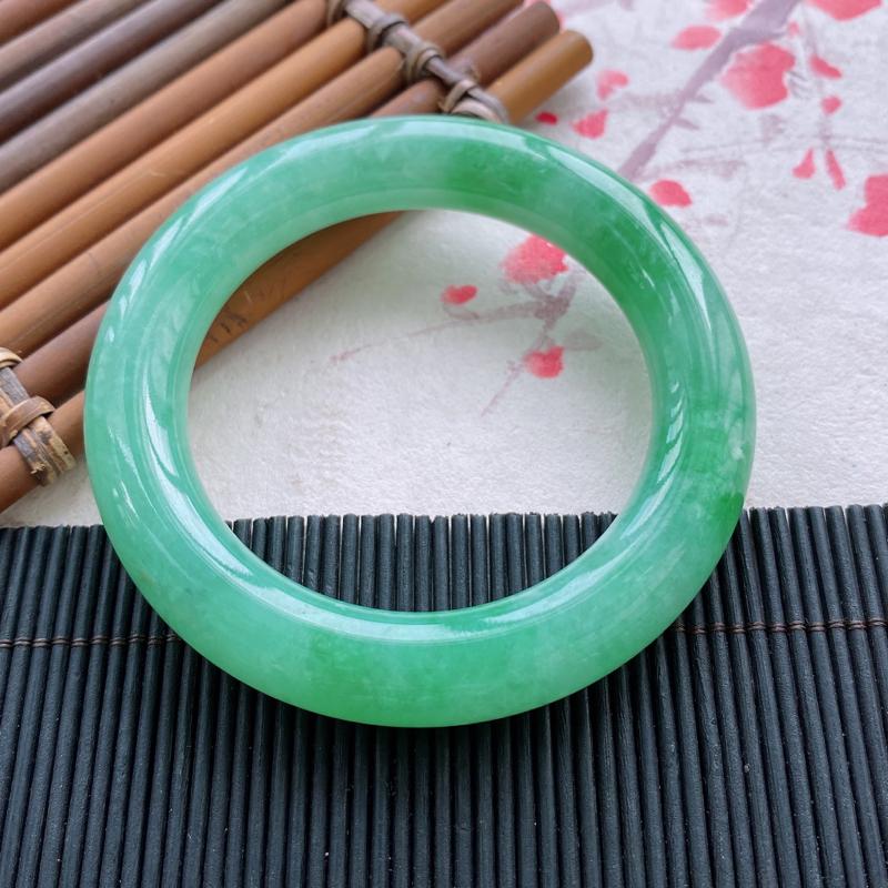 圆条:57.0mm 天然a货种水好糯化种满绿圆条翡翠手镯,圈口:57.0/11.8/11.8mm