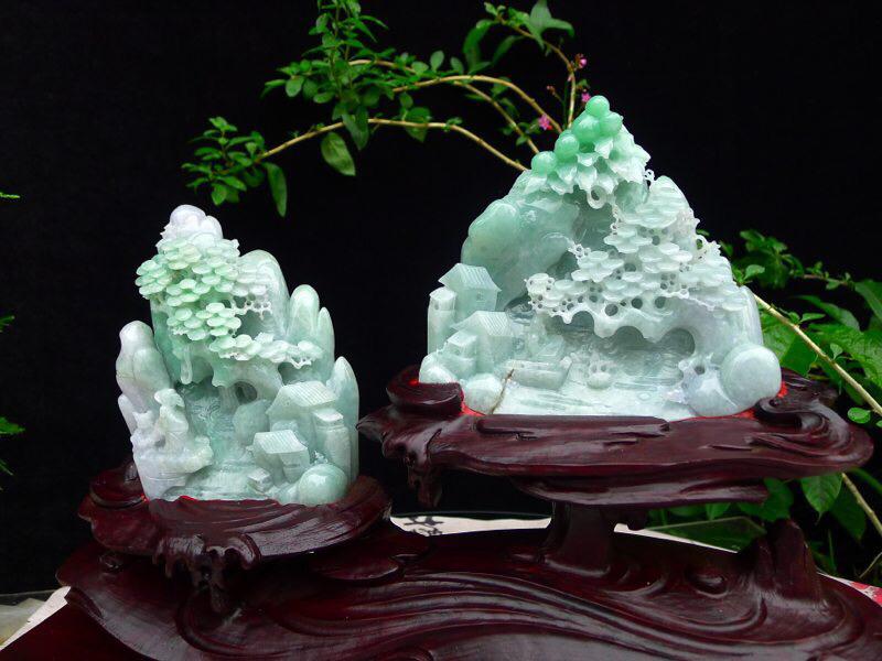 翡翠老坑水润飘绿精雕游山玩水,深山访友精品摆件