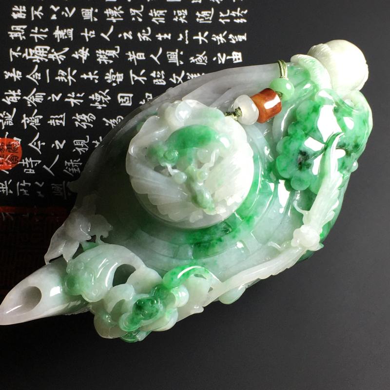 糯种带色精美茶壶摆件 125-63.5-65毫米 质地细腻 翠色艳丽 雕工精致