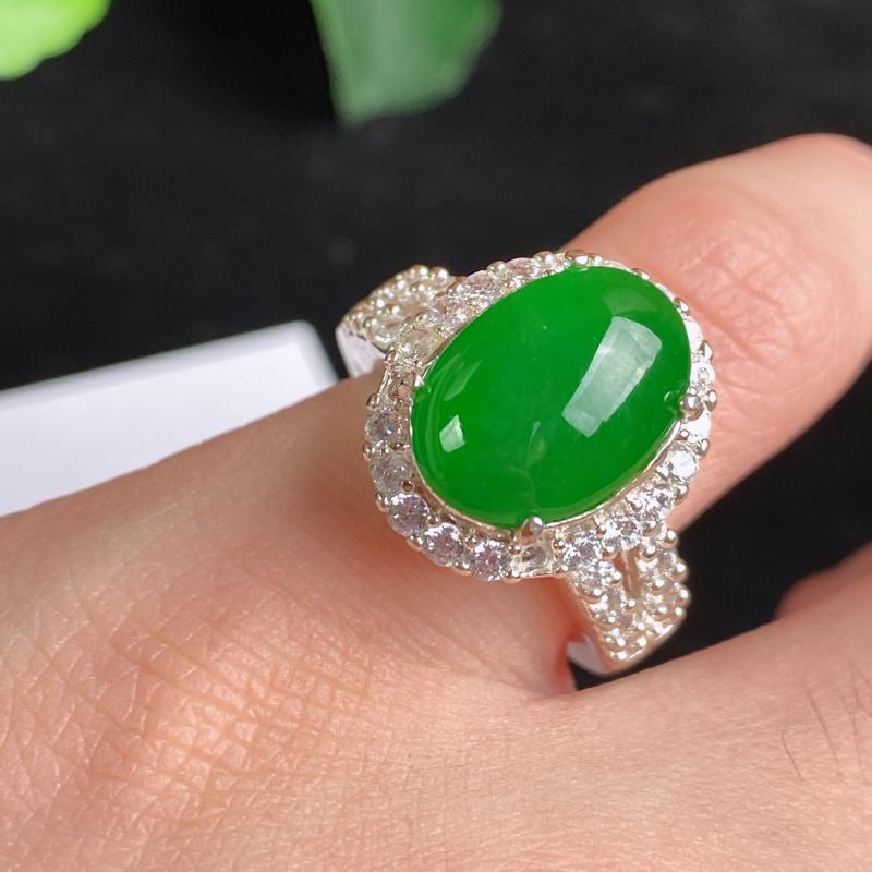 A货翡翠-种好托铜蛋面戒指,尺寸-14.1*10.1*4.5mm