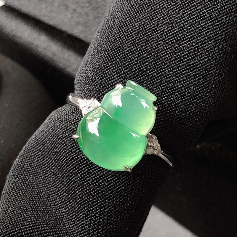 冰种绿底翡翠葫芦,戒指,冰透水头好,细腻清爽,底色清甜,莹润饱满!佩戴佳。