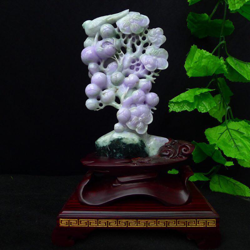 翡翠紫罗兰花开富贵,鸟🦜语花香,硕果累累精品摆件 色泽鲜艳,紫色见光不失,裸石尺寸190*110*4