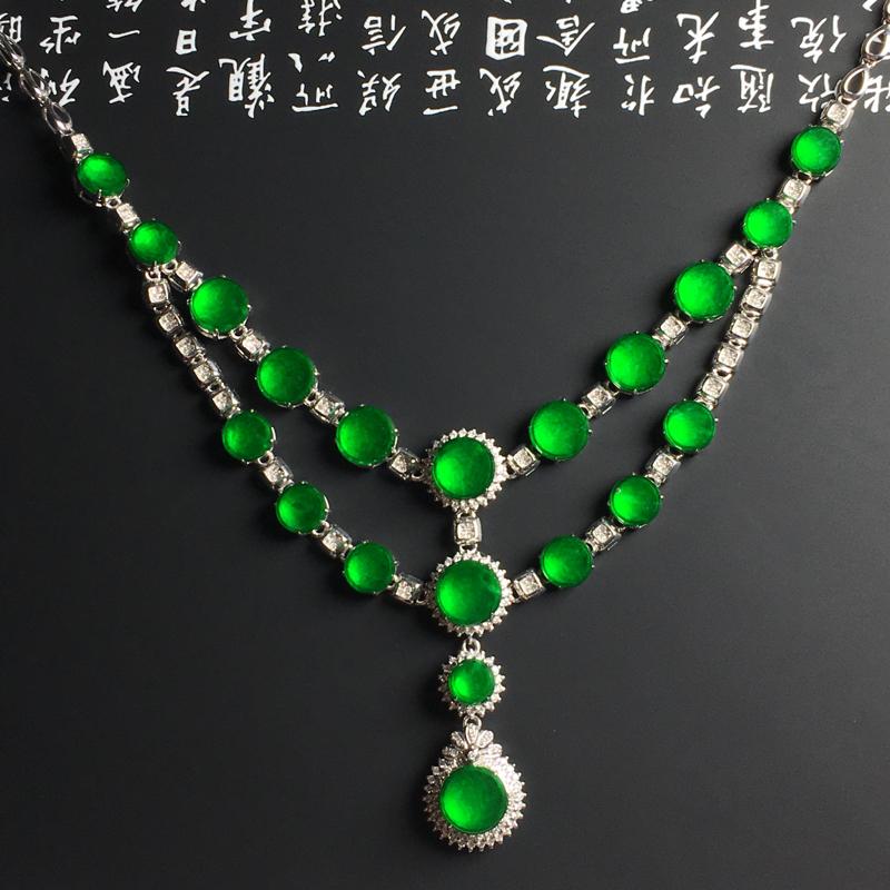 冰种满绿精美项链 18K金带钻镶嵌 含金尺寸取大12-5毫米 裸石取大7-1.8毫米 含金尺寸取小5
