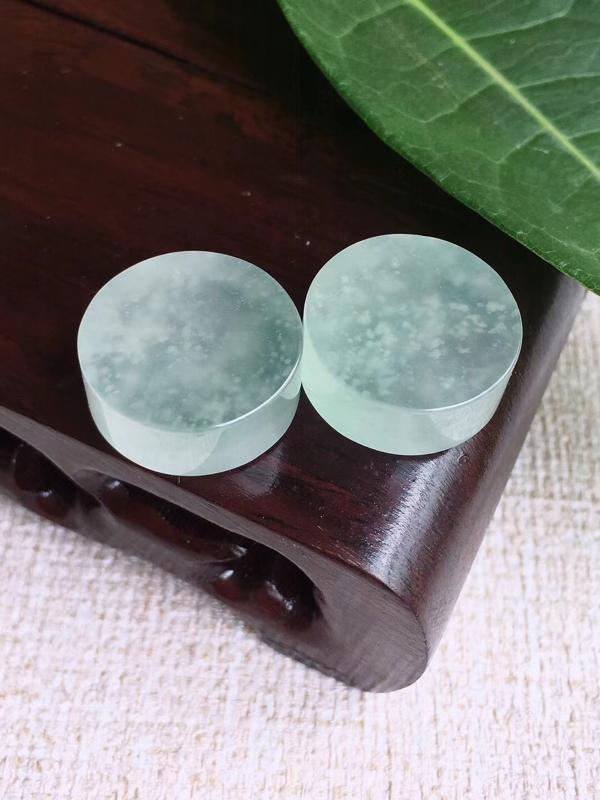 天然A货翡翠 冰种雪花棉平安无事牌镶嵌件 完美 尺寸16.5*6.6mm 16.5*6.7mm