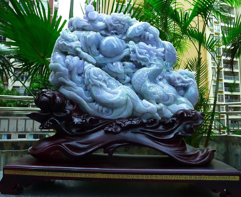 缅甸天然翡翠A货 精美老坑 春带彩 紫罗兰 龙腾盛世  龙摆件 雕刻精美线条流畅种水好 霸气 栩栩如