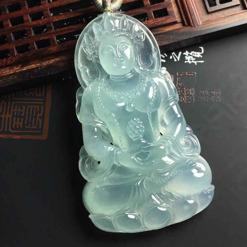 冰种晴底渡母吊坠 尺寸764510毫米 种好冰透 底色亮丽 细腻起胶 雕工精湛##**