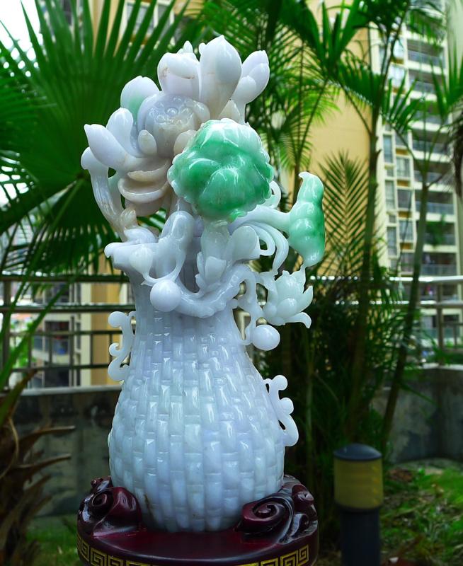 翡翠精美花瓶摆件 缅甸天然翡翠A货 精美荷花 寓意花开富贵 多子多福 好事连连 平安富贵 🈴️🈴️美