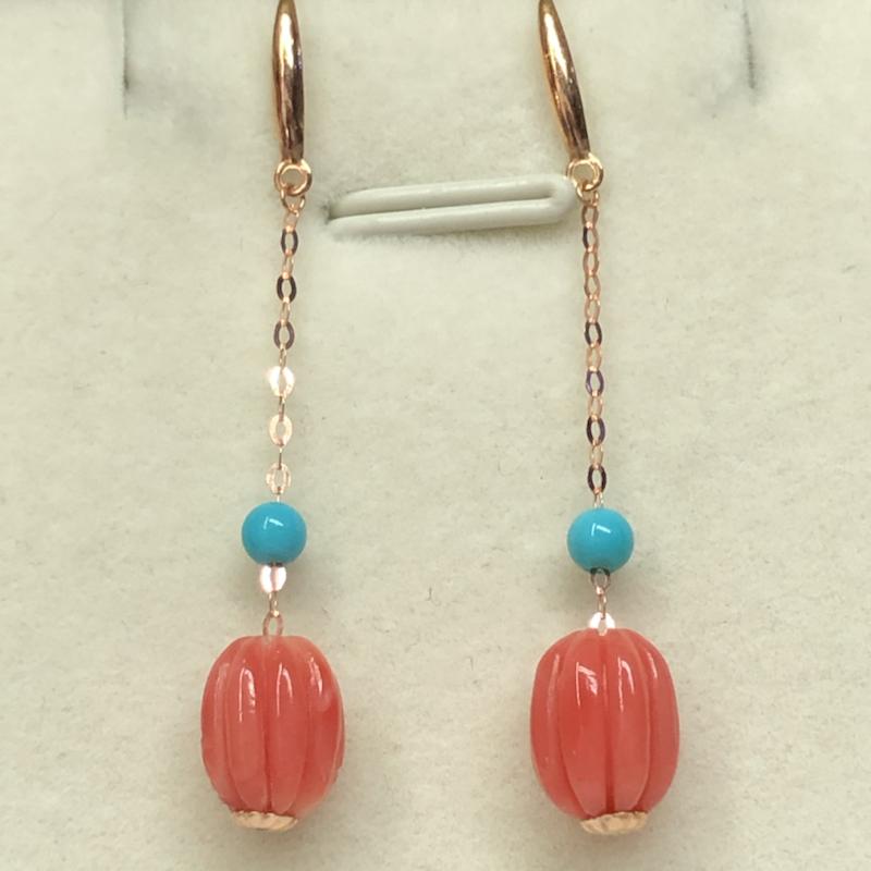 【红珊瑚天然南瓜珠耳坠】台湾材料,红粉色的,简单精致款,18k金➕绿松石镶嵌。裸石尺寸9.5*7.0