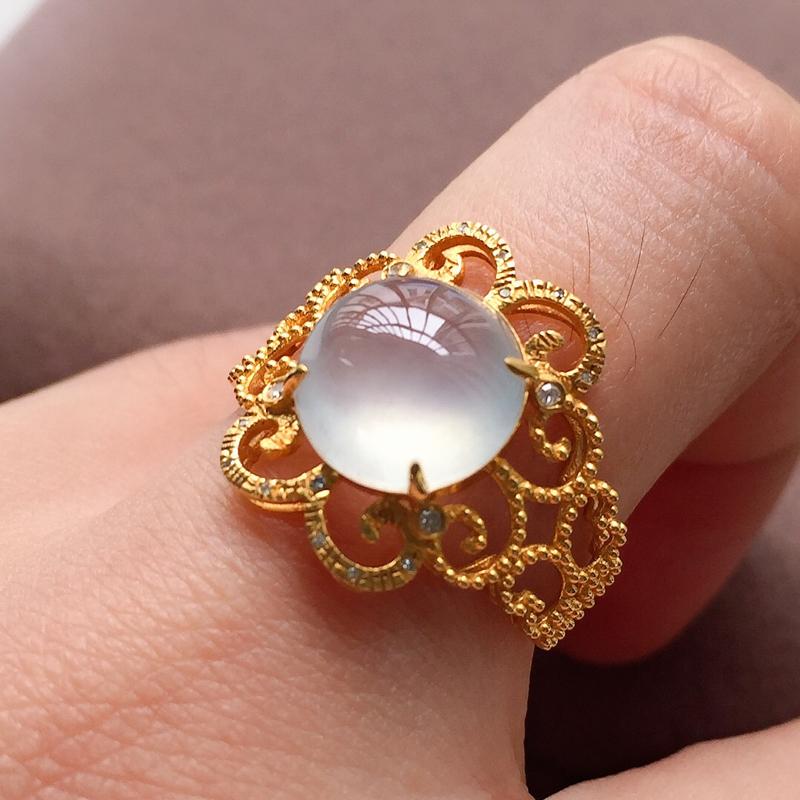 冰种翡翠戒指,种水好,荧光十足,指圈:14#,尺寸:9.8-9.6-4.9