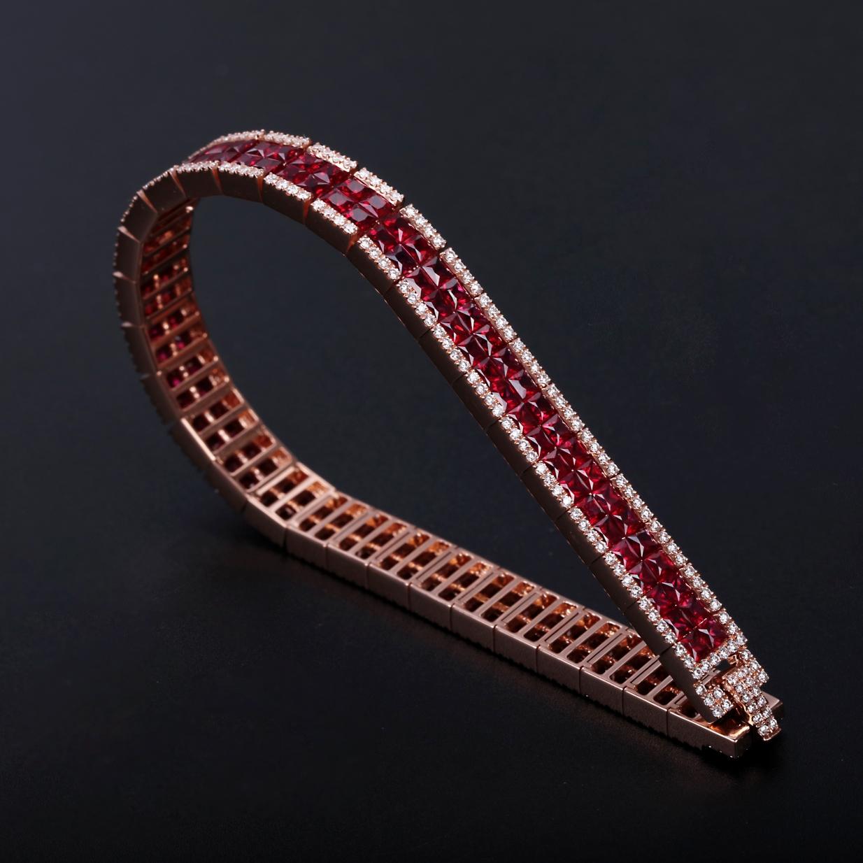 【奢华手链】18k金+红宝石+钻石  奢华款手链 宝石颜色纯正 货重:22.92g   金重:20.