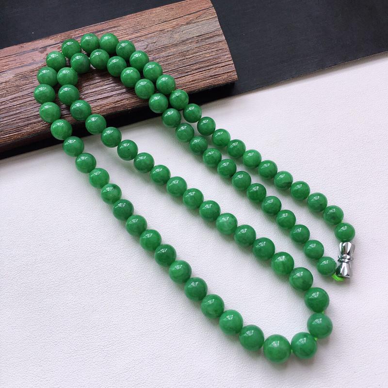 糯化种满绿色塔珠项链。缅甸天然翡翠A货. 品相好,料子细腻,雕工精美。长550mm。 尺寸:8*6.
