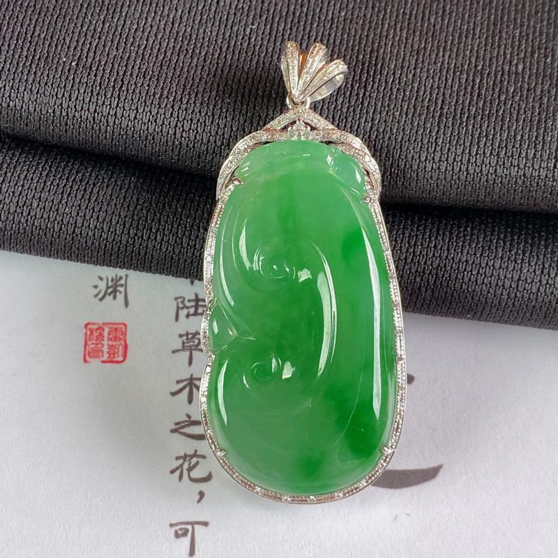 A货翡翠-种好飘绿18K金伴钻如意吊坠,尺寸-裸石34.3*18.2*3.3mm整体46.1*20.