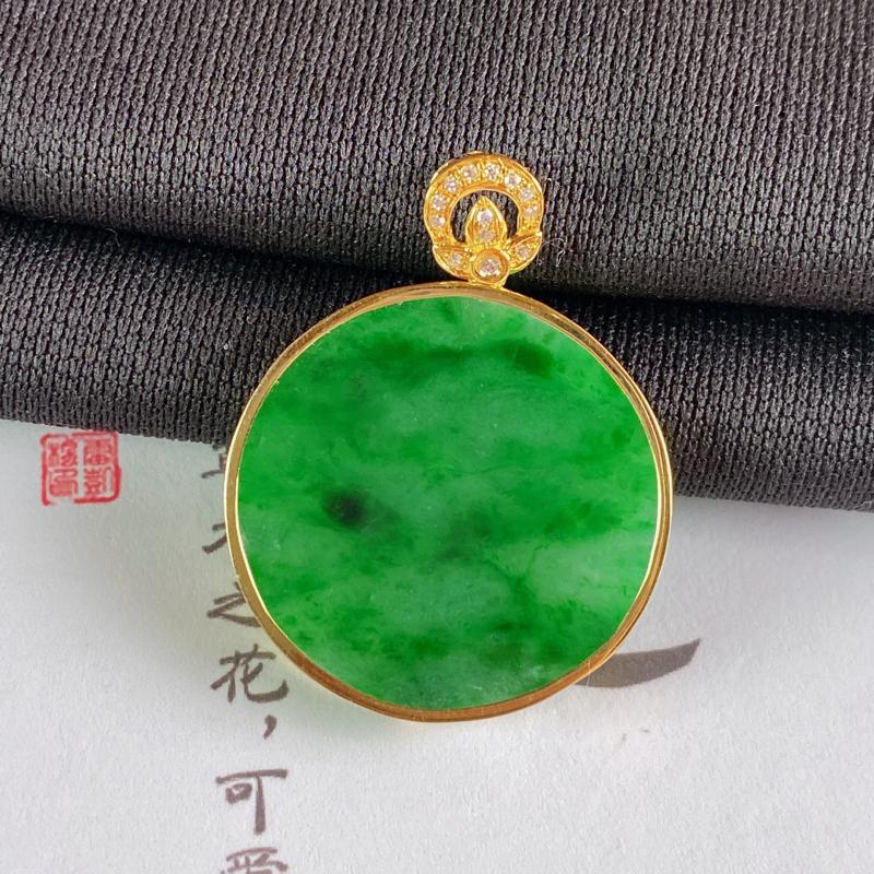 A货翡翠-种好满绿18K金伴钻素面无事牌,尺寸-裸石23.4*3mm整体31*24*3mm