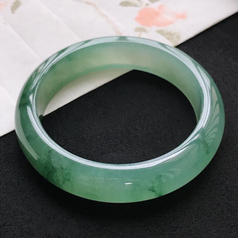 0810天然A货翡翠老坑冰糯种精美水润满绿手镯