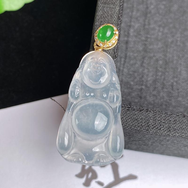 A货翡翠-种好冰润18K金伴钻布袋佛吊坠,尺寸-28.9*16.4*4.3mm