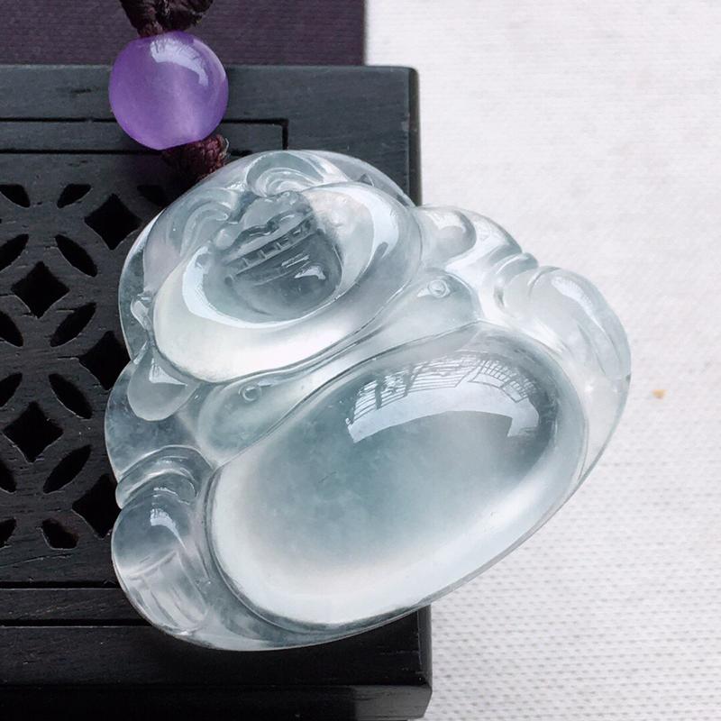 精品翡翠佛公吊坠,雕工精美,玉质莹润,顶珠为艺术珠,尺寸:玉:24.3*28.2*8.1MM,总质量