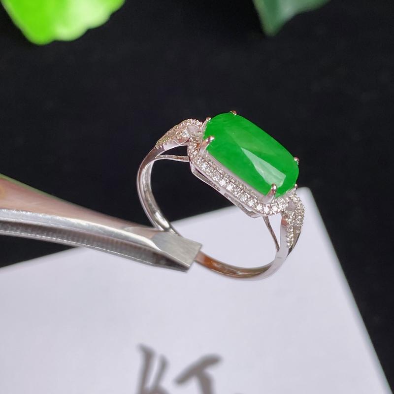 A货翡翠-种好阳绿18K金伴钻马鞍戒指,尺寸-10.2*5.5*3mm内径17mm14号