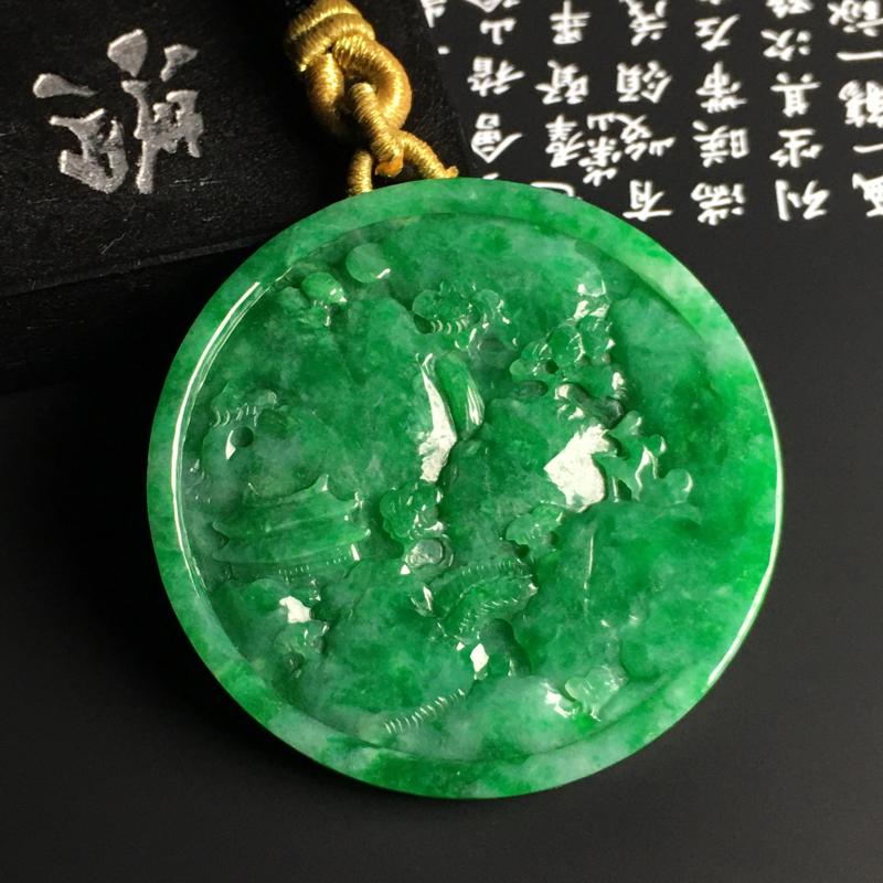 细豆种阳绿【高山流水】圆牌吊坠 质地细腻 雕工精湛 翠色阳绿