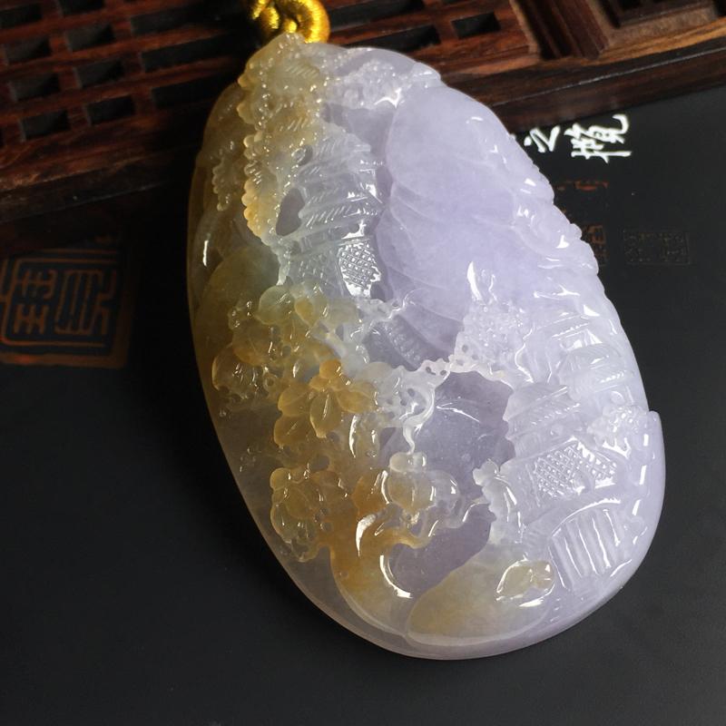 细糯种双彩山水牌吊坠  尺寸72-43-11毫米 色泽亮丽 玉质水润 雕工精湛