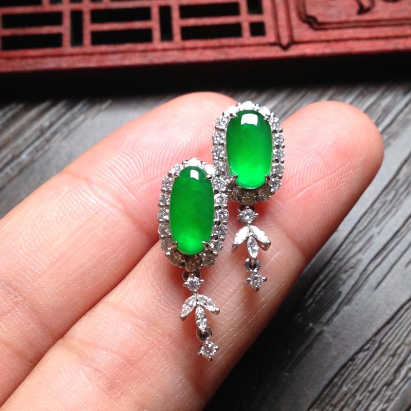 老坑冰正阳绿耳坠,裸石10*6*3.5 整体24*9.5*7 18k金钻石镶嵌,料子细腻,纯净细腻,