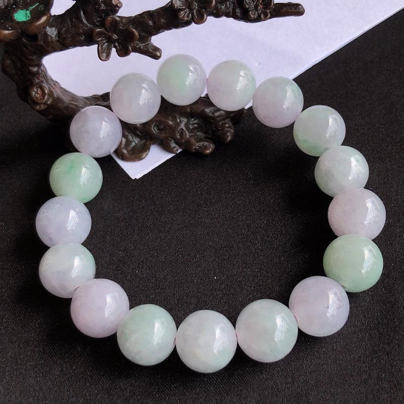 天然a货翡翠春彩珠链手链,玉质细腻,水润