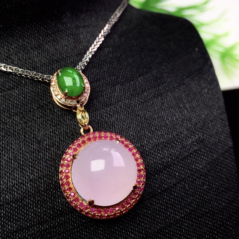 淡粉紫吊坠,清新甜美,精巧细腻,裸石:11.5*11*4.5 整体:29.3*15*9