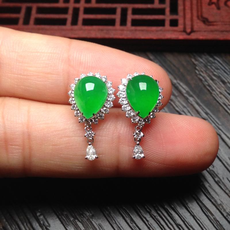 老坑冰正阳绿水滴耳钉,裸石9.5*7.5*5 整体19.5*10.5*8.5 18k金钻石镶嵌,无纹