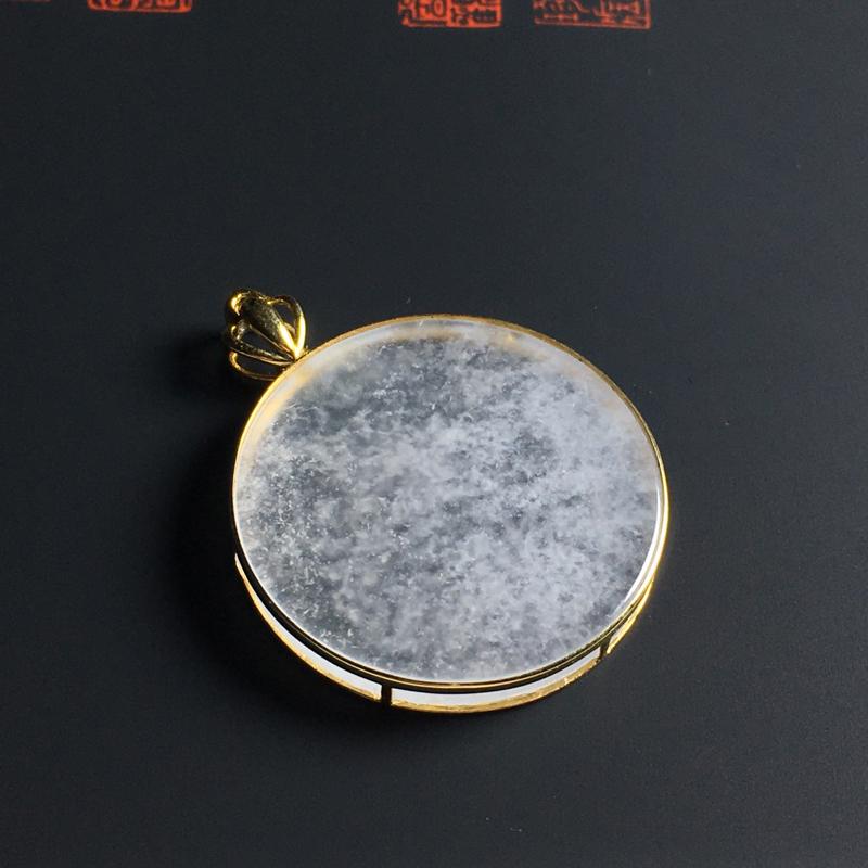 冰种无事牌吊坠 18K金镶嵌 含金尺寸29-3毫米 种好冰透 小巧精致
