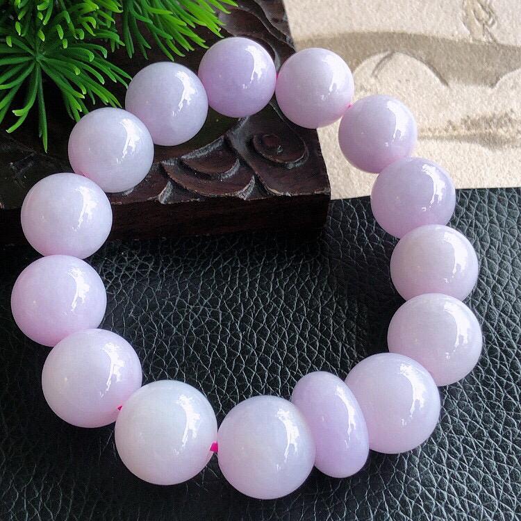 天然缅甸老坑翡翠A货紫罗兰圆珠子手链,料子细腻柔洁,尺寸珠子直径14mm,重量73.30g。