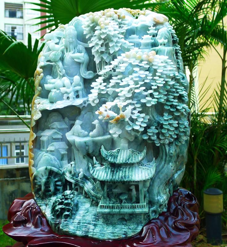缅甸天然翡翠A货 精美 三彩 大件高山流水 财源广进 山水财神摆件 雕刻精美线条流畅种水好 搭配精美